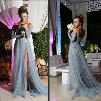 Stunning Gray Prom Dress 2019 A line Long Sleeve Tulle Party Evening Gowns Elegant Slit Applique Sexy Pageant Dress For Women