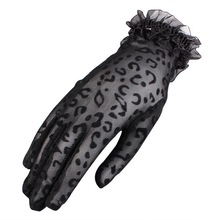 Summer Sunscreen Lace Gloves Sexy Leopard Embroidered Lace Flower Glove UV Protection Charm Female Thin Driving Sexy Gloves summer sunscreen silk sleeves drive womens sexy thin gloves summer lace gloves driving lace guantes guantes sin dedos para mujer