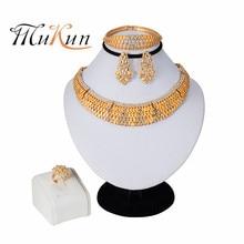 MUKUN 2019 NEW Ethiopian Round Jewelry Set Gold Color Necklaces Earrings Bangle Ring Habesha Eritrean Wedding