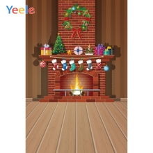 Yeele Christmas Family Photocall Party Fireplace Photography Backdrops Personalized Photographic Backgrounds For Photo Studio