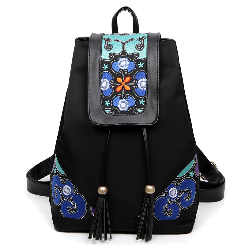 New Floral Embroidery Nylon Female Backpack National Style Women Casual Travel Bags Big Capacity Backpacks For Teenager Girls
