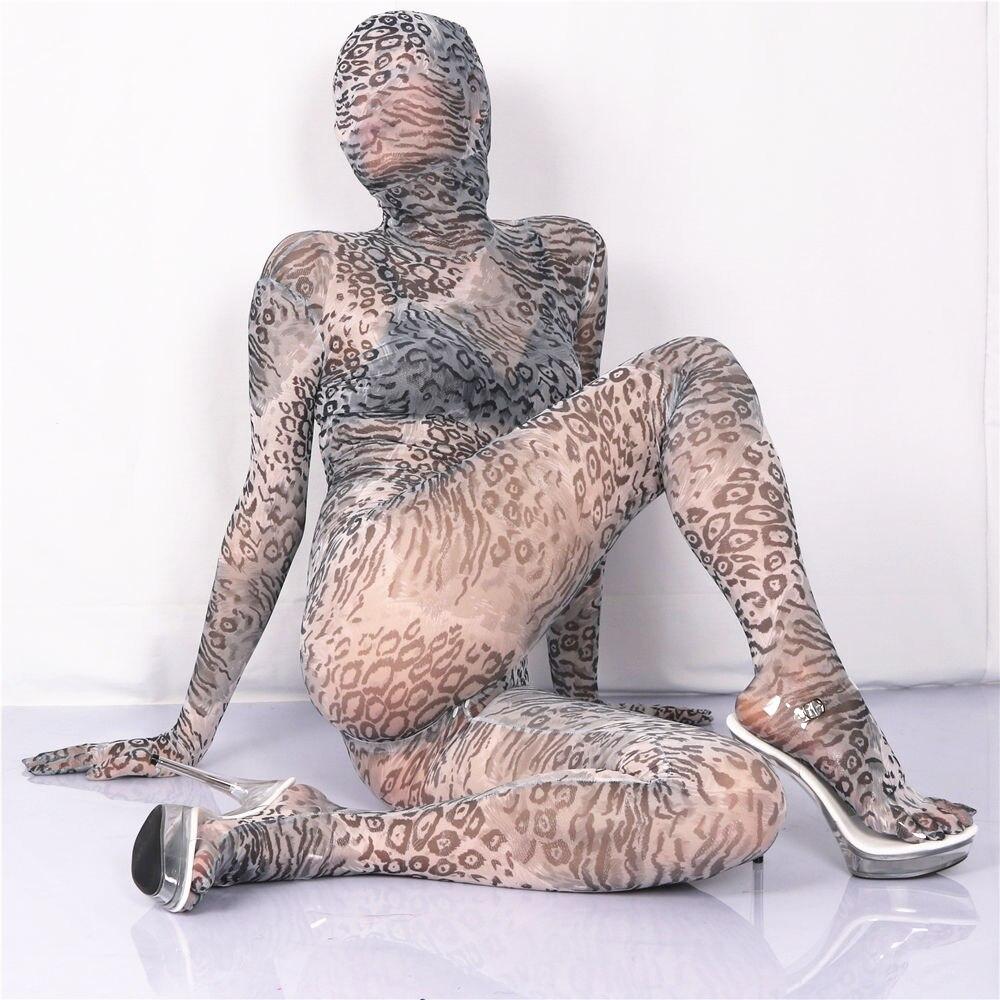(Ms014) Для женщин сексуальные высокие эластичные лайкра Гренадин полное тело комбинезон ...