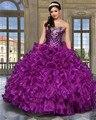 2017 nueva púrpura atractivo barato vestidos de quinceañera vestido de bola cristales perlas organza sweet 16 vestidos vestidos de 15 anos