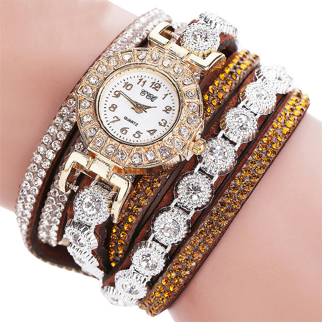 New Fashion Women Fashion Casual Analog Quartz Women Rhinestone Watch Bracelet Watch Wholesale & Drop Shipping