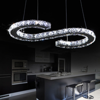 New S Shaped LED Modern Luxury Crystal Lighting Pendant Light Hanging Lamp Fixtures For Home Bar