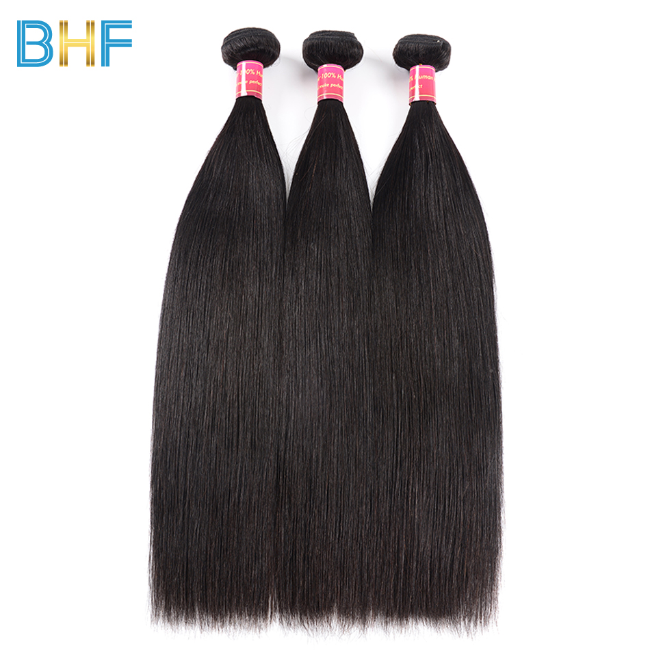 BHF Brazilian Virgin Hair 3 Bundles Straight Hair Bundles Natural Color Raw Unprocessed Human Hair Brazilian Hair Weave Bundles
