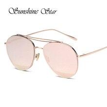 Pop Era Moda Piloto Aviador gafas de Sol Mujeres Diseñador de la Marca de Recubrimiento Espejo Redondo Gafas de Sol gafas de sol de La Vendimia 400UV