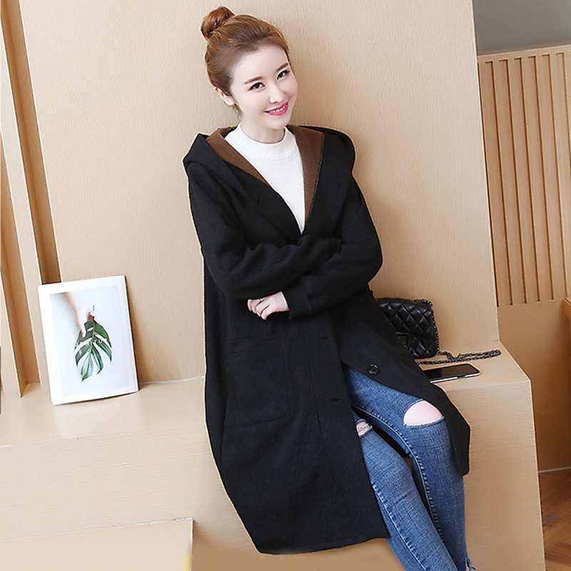 L-4XL 5XL Женское зимнее пальто с капюшоном 2018 утолщенное бархатное пальто размера плюс с длинным рукавом однобортное длинное пальто из смесового хлопка Z376