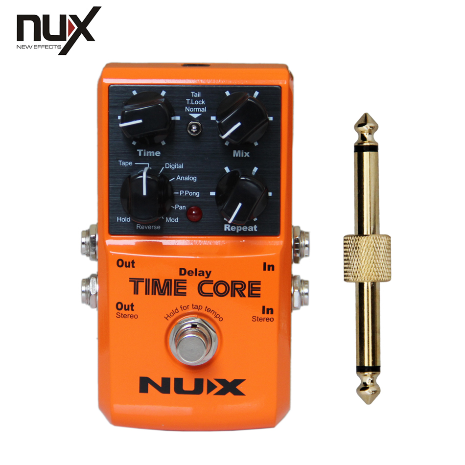 NUX Time Core Digital Delay Effects Pedal for Electric Guitar+1 pc pedal connector nux gp 1 electric guitar plug headphone amp