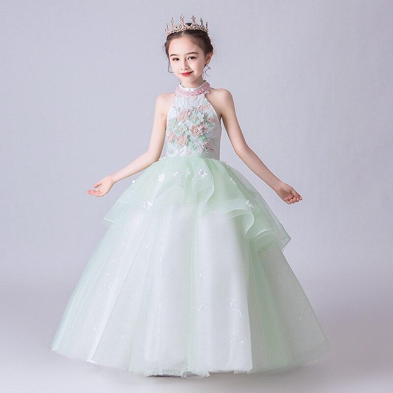 New Arrival Flowered Applique Flower Children's Elegant Dresses For Girls Dresses For The Communion Ceremony