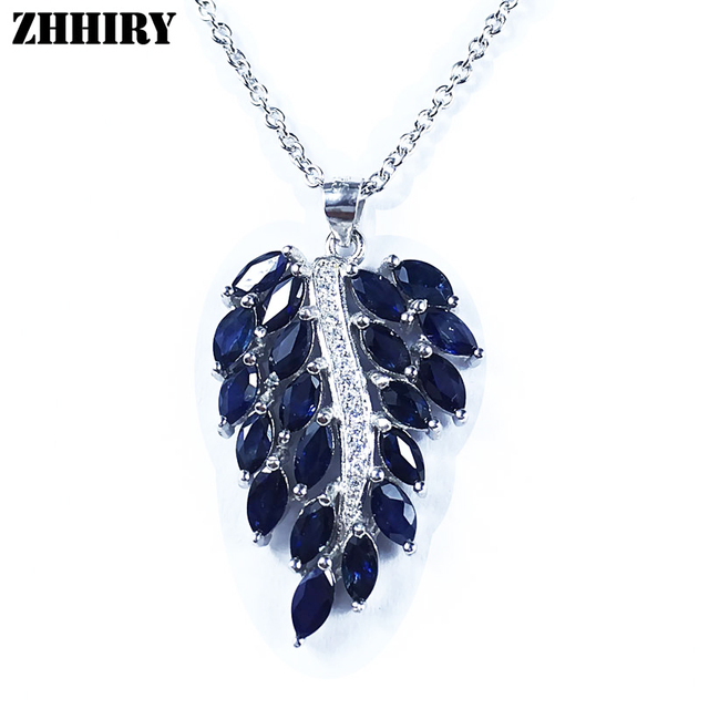 Natural Sapphire Gemstone Necklace Genuine Solid 925 Sterling Silver Jewelry Noble Birthstone Woman