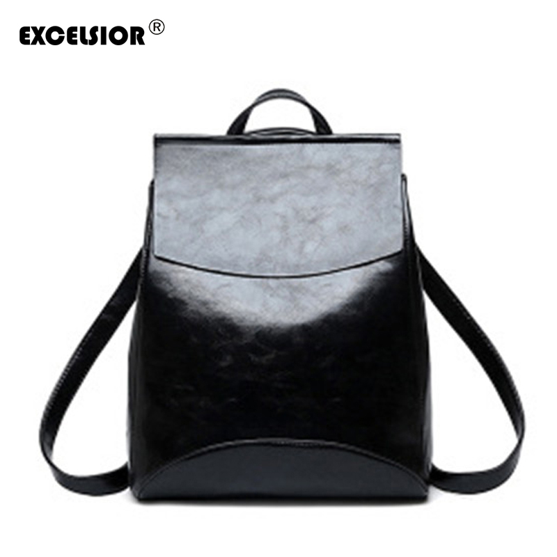 Excelsior Fashion Pu Leather Women's Backpack Simple Vintage School Bags Large Capacity Casual Female Backpack Multi-use New