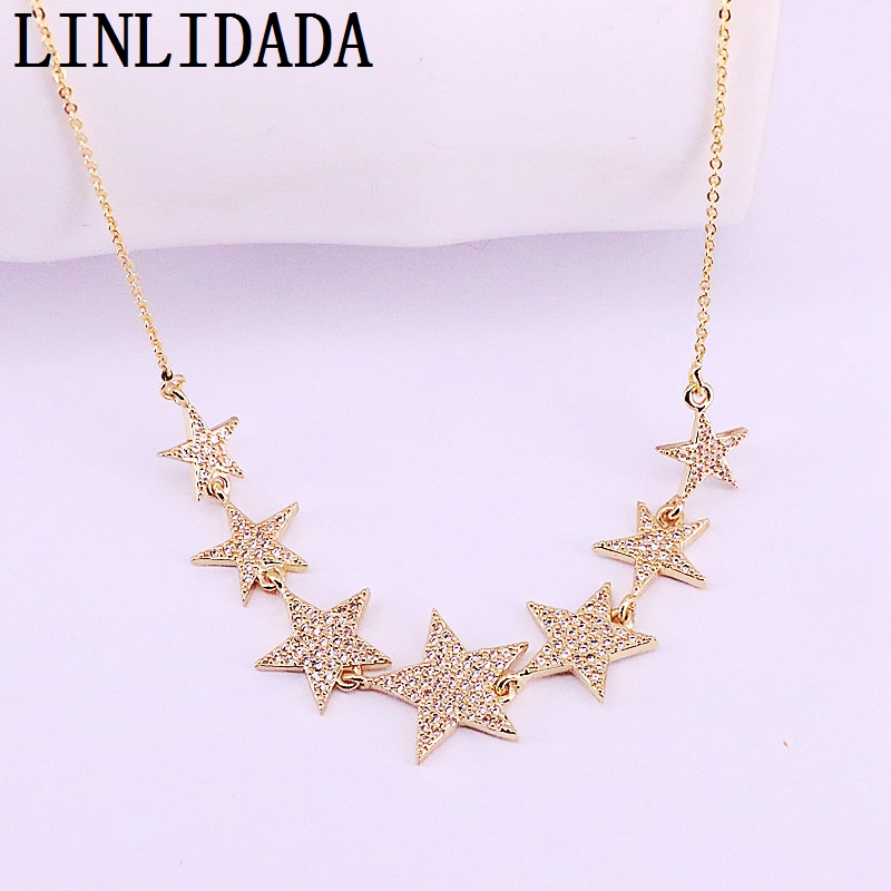 5Pcs Beautiful Gold Color Pave Cubic Zirconia Star Charm Pendant Necklace Women Jewelry