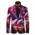 Блейзер Мужчины 2017 Мужская Мода Красочные Печатные Костюм Мужчины Вскользь Тонкой Однобортный One Button Терно Masculino Homme Блузон