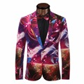 Blazer Men 2017 Men'S Fashion Colorful Printed Suit Men Casual Slim Blouson Homme Single-Breasted One Button Terno Masculino