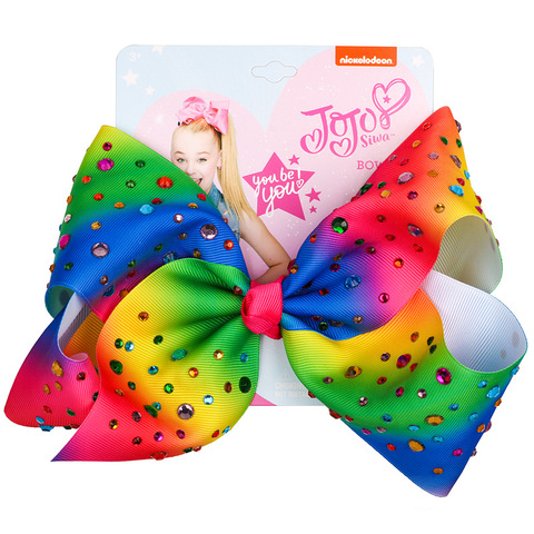 JOJO Siwa 8Inch Large Hair Bow Baby Girls Headwear Colorful Rainbow Hot drilling Bows Festive Party Hair accessories Hair clip Multan