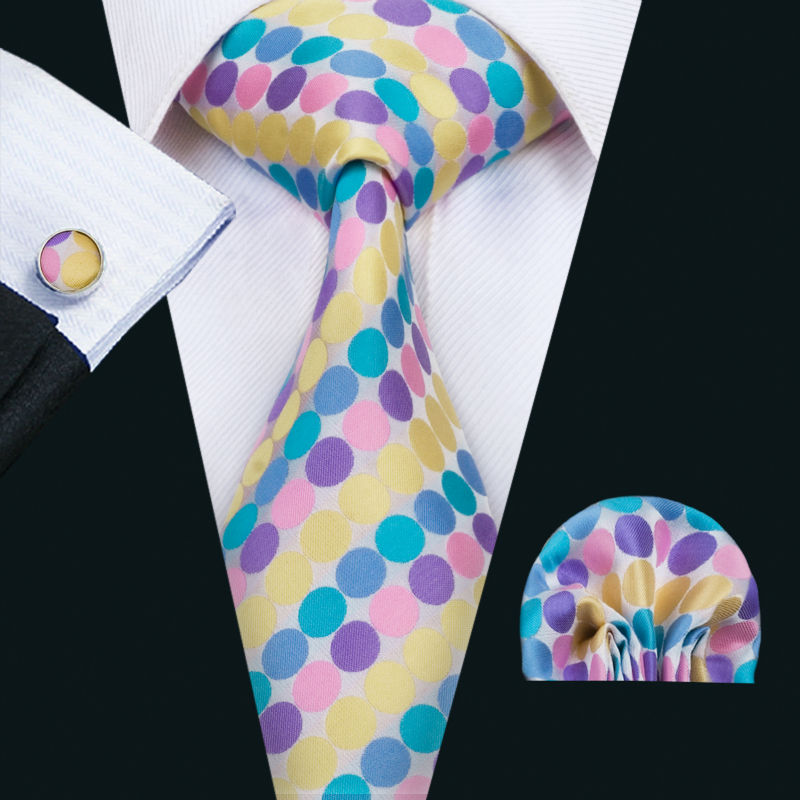 aef7afa61fa9 Wang New Arrival Men's Ties Multi-color Polka Dot Silk Jacquard Necktie  Hanky