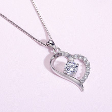 цена 925 sterling silver necklace heart-shaped necklace love pendant female silver pendant clavicle chain Japanese and Korean jewelry онлайн в 2017 году