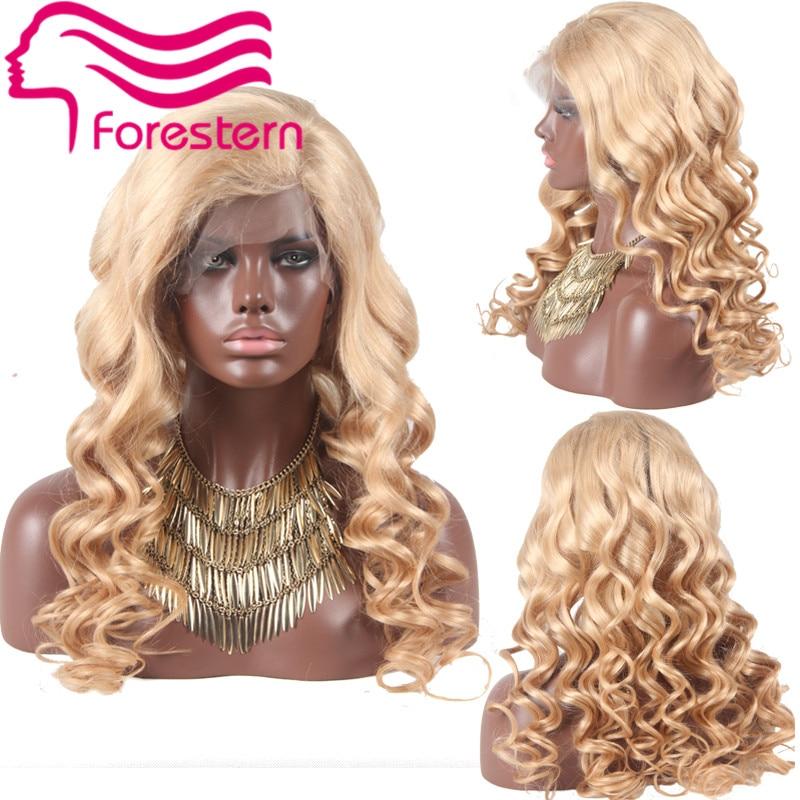Body Wave Brazilian Virgin Full Lace Human Hair Wigs Blonde Glueless Lace Front Wigs 180 Density