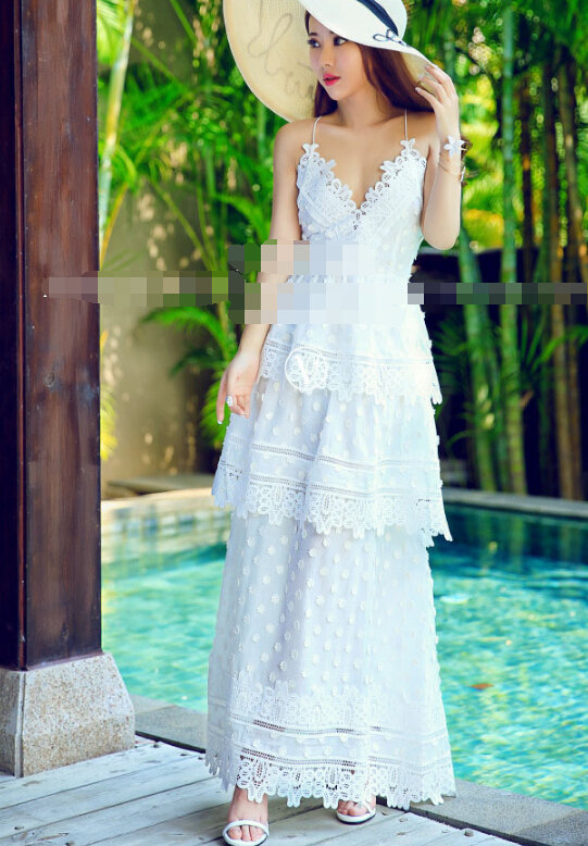 Women's Clothing Free Shipping 2016 Summer New Arrival Cross Backless V Collar Lace Brace Chiffon Long Dress White
