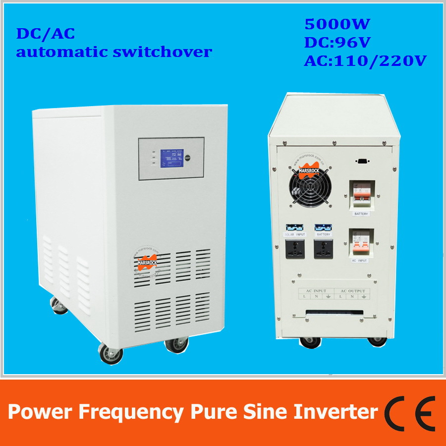 Power frequency 5000W pure sine wave solar inverter with charger DC96V to AC110V220V LCD ...