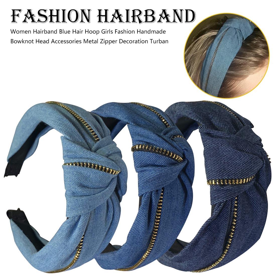 Jeans Wide Headband Women Denim Korean Style Elastic Hair Band Girls Turban Hair Hoop Headband Hairbands For Hair Accessories bed making tools
