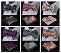 Cor Paisley Floral Clássico 100% Jacquard de Seda Homens Tecidos Curva de Borboleta Bolso Gravata borboleta gravata Esquadro Lenço Terno # FB