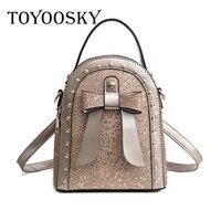 TOYOOSKY Newest Bling Sequins Backpack Cute Bow Shoulder Bag Women Rivet Mini Backpack Children Girls Travel