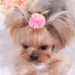Hair-Clips-Accessories Bowknot Cute-Design Pet-Hair Dog with Lace Organza-Style Pet-Grooming-Products