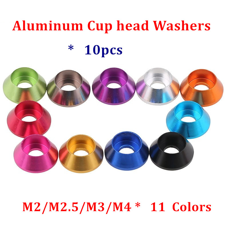 10pcs M2 M2.5 M3 M4 M5 Aluminum Alloy Washers for Cylinder Cup Head Hex socket head screw Gasket Aluminum Cone Washer Anodized10pcs M2 M2.5 M3 M4 M5 Aluminum Alloy Washers for Cylinder Cup Head Hex socket head screw Gasket Aluminum Cone Washer Anodized