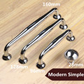 "96mm 128mm 160mm modern simple shiny silver dresser kitchen cabinet door handles chrome drawer cupboard pulls knobs 5"" 6.3"""