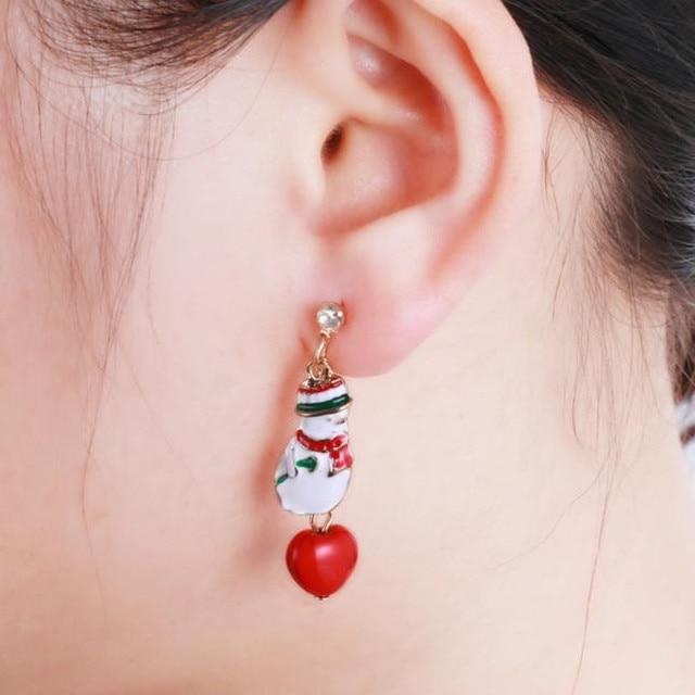 New Fashion snowman-shaped alloy earring Santa Christmas Earrings for women style Stud Earrings for women Jewelry Gifts