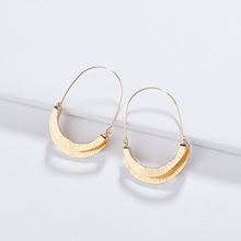 INS Popular Women Unique Fashion Jewelry Fold Over Metal Earring Fancy Drop Statement earrings for Girls