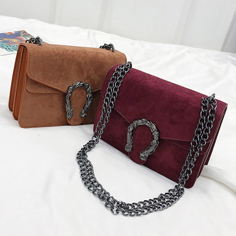 Image 2 - DORANMI Classic Suede Women Shoulder Bag 2019 Chic Autumn Flap Bags  Crossbody Bag Messenger Chain Strap Bolsos Mujer DJB778-in Shoulder Bags from Luggage & Bags