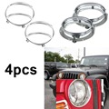 2x Round Daymaker LED Headlight Mounting Bracket Ring+2x Silver Headlight Guards cover For Jeep