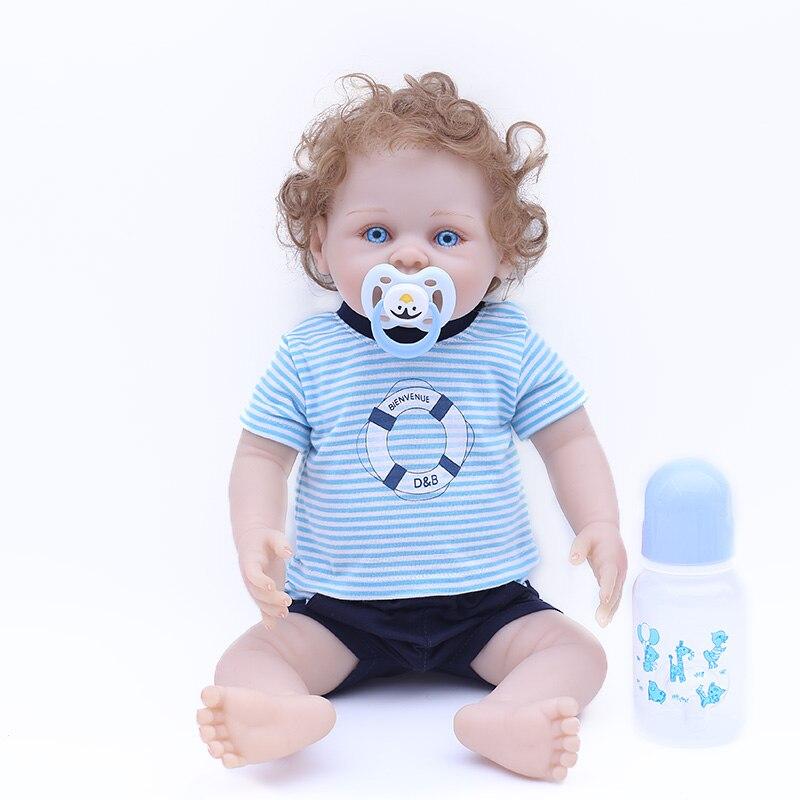 Us 62 99 40 Off New Arrival 42cm Full Silcione Blue Eyes Lifelike Newborn Baby Boy With Plush Ball Best Kids Gifts Silicone Baby Reborn Dolls In