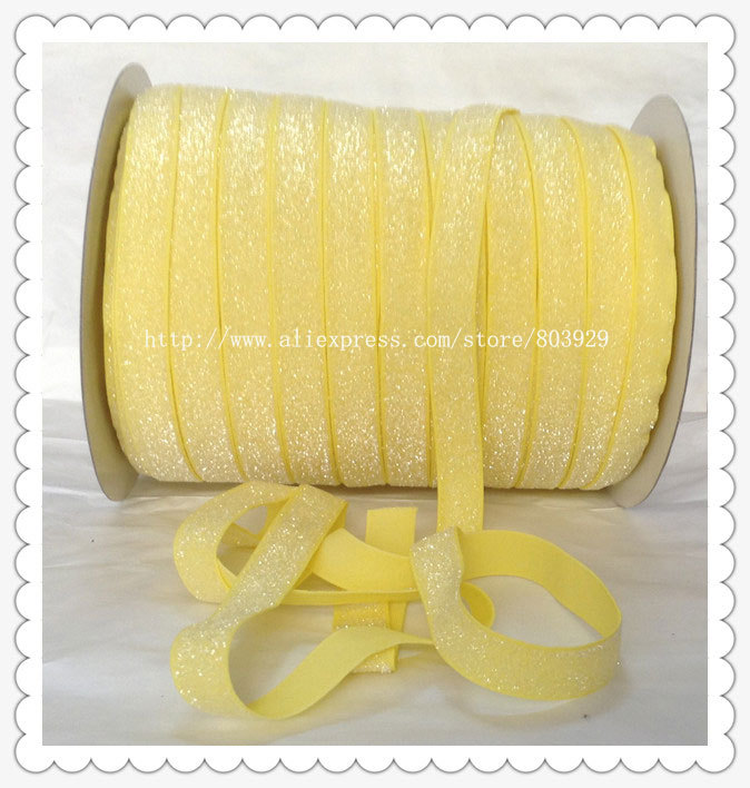 50yards lot Non stretch 1 5 Frosted Daffodil Glitter Ribbon
