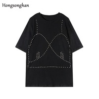 Hongsonghan Short sleeve casual loose embroidered flares Korean style solid color nail Bead O neck summer Rivet T shirt tide