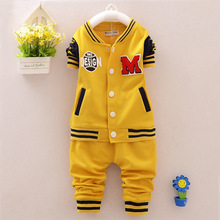 2016 new kids children suit Boys Baseball uniform long sleeved autumn girls sports sweater in spring and Autumn pants coat sets