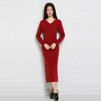 Autumn and winter Slim Thin dress Cashmere dress Sweater Knit bottoming shirt Large yard Hips Long knee