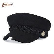 021fd7f64ace3 Nuevo otoño octogonal sombreros para mujer plana militar gorra de béisbol  señoras sólidos gorras casuales de