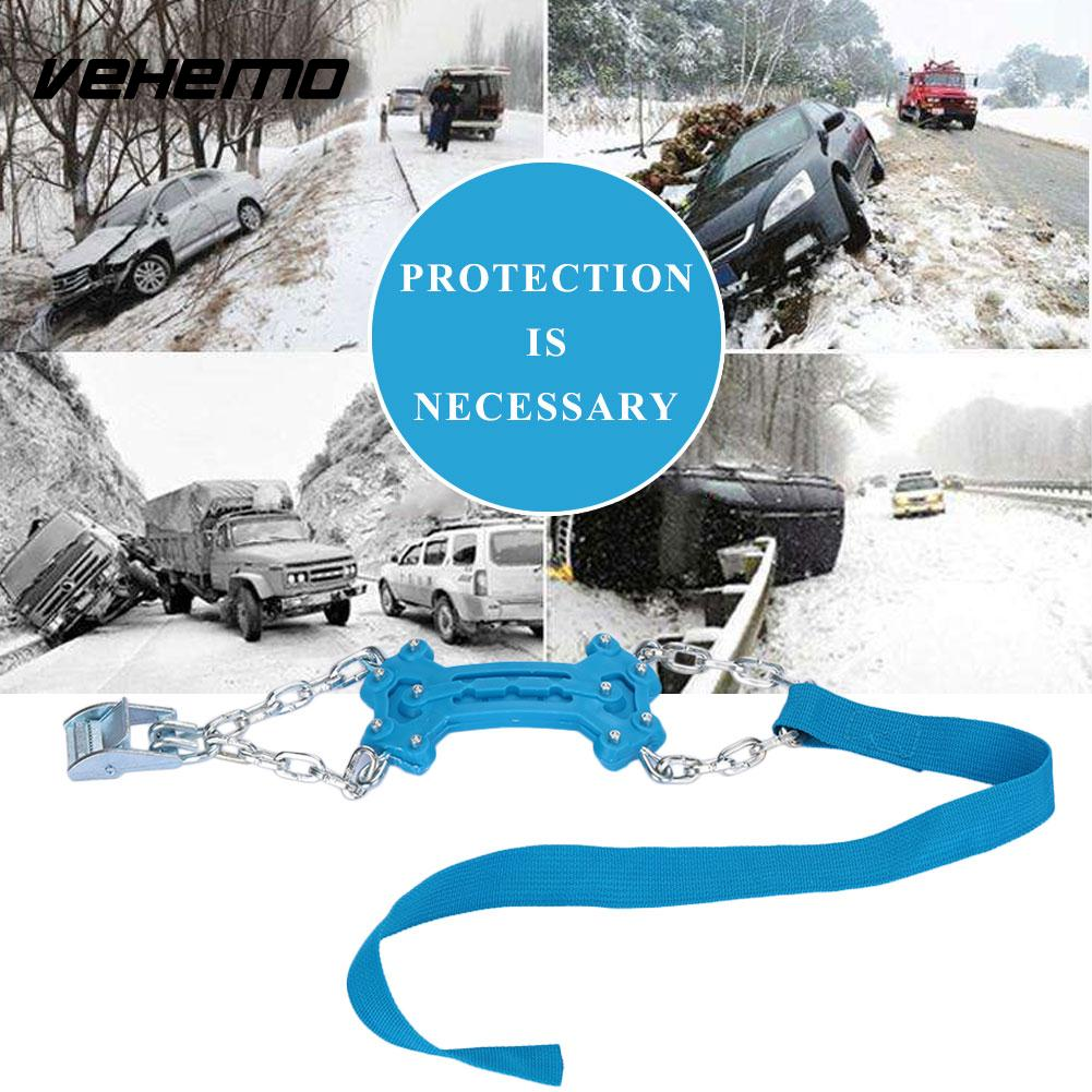 Vehemo Blue Snow Chain Roadway Safety Anti-Skid Chains Durable Snow Tire Belt Climbing Mud Ground Universal Accessories