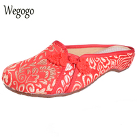 2016 Spring Summer Fashion Women Old Beijing Embroidery Home Slippers Casual Soft Shoes Mujer Plus Size