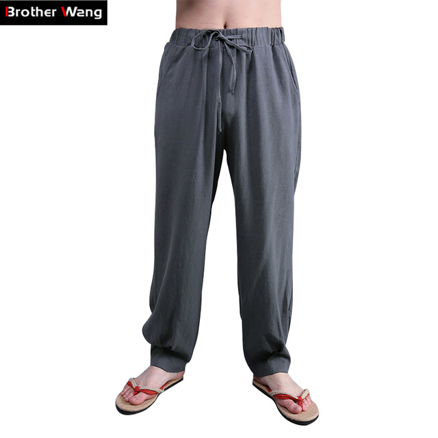 Loose cotton linen pants men large size Chinese style Sweat cloth casual pants mens 6 color lace spring summer pant