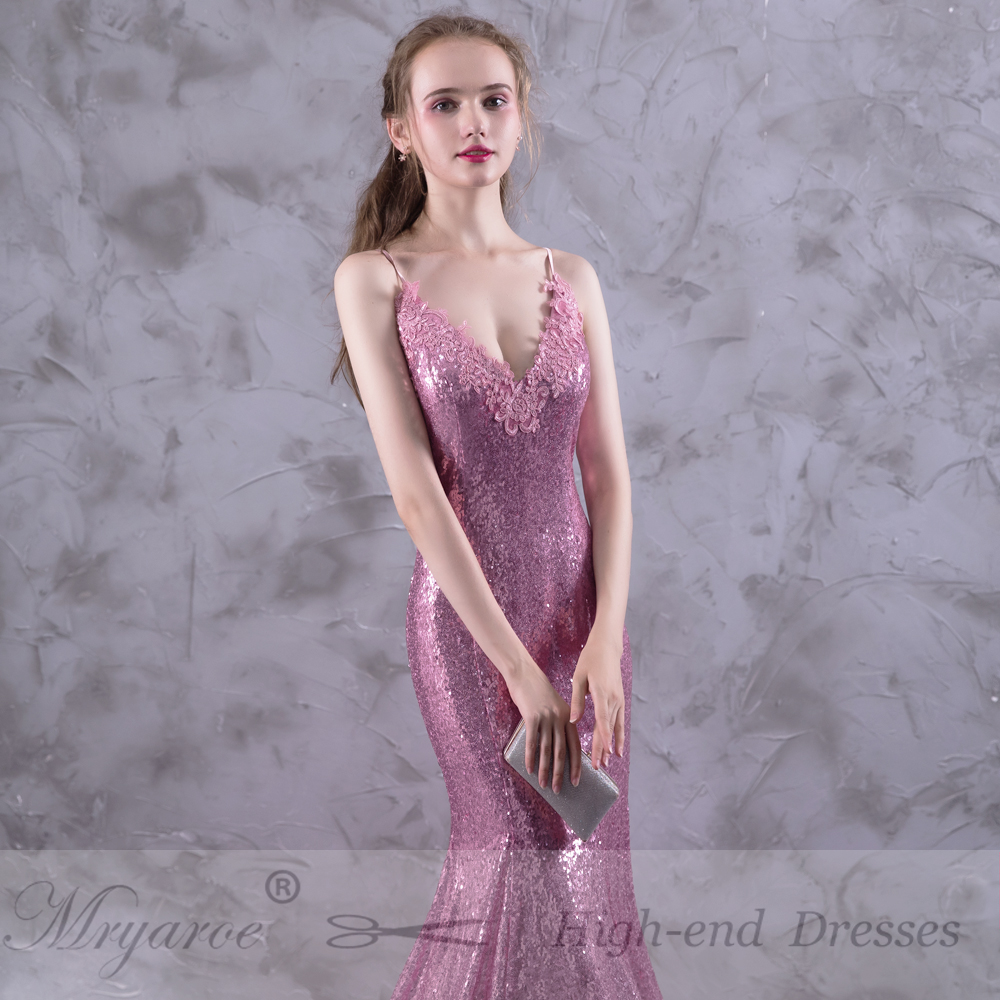 Real Picture Sparkled Gorgeous Mermaid Long Rose Pink Prom Dresses ...