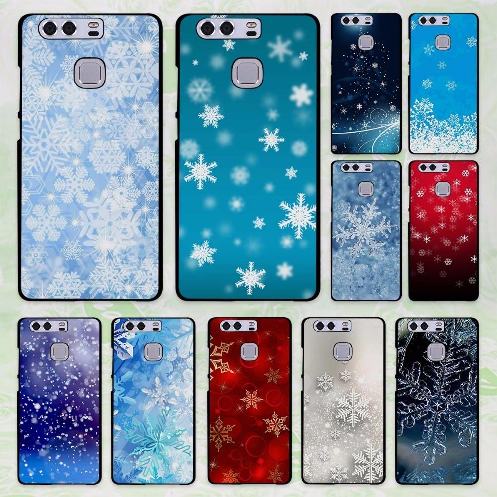 Christmas Snowflake Design Hard Black Case Cover For Huawei P8 P9 Lite P9 Plus P10 P10 Lite P10 Plus P7 Mate9 M
