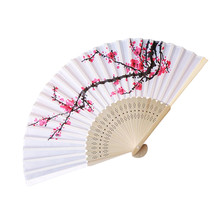Hot Vintage Bamboo Folding Hand Held Flower Fan Pattern Dance Wedding Party Lace Silk C411