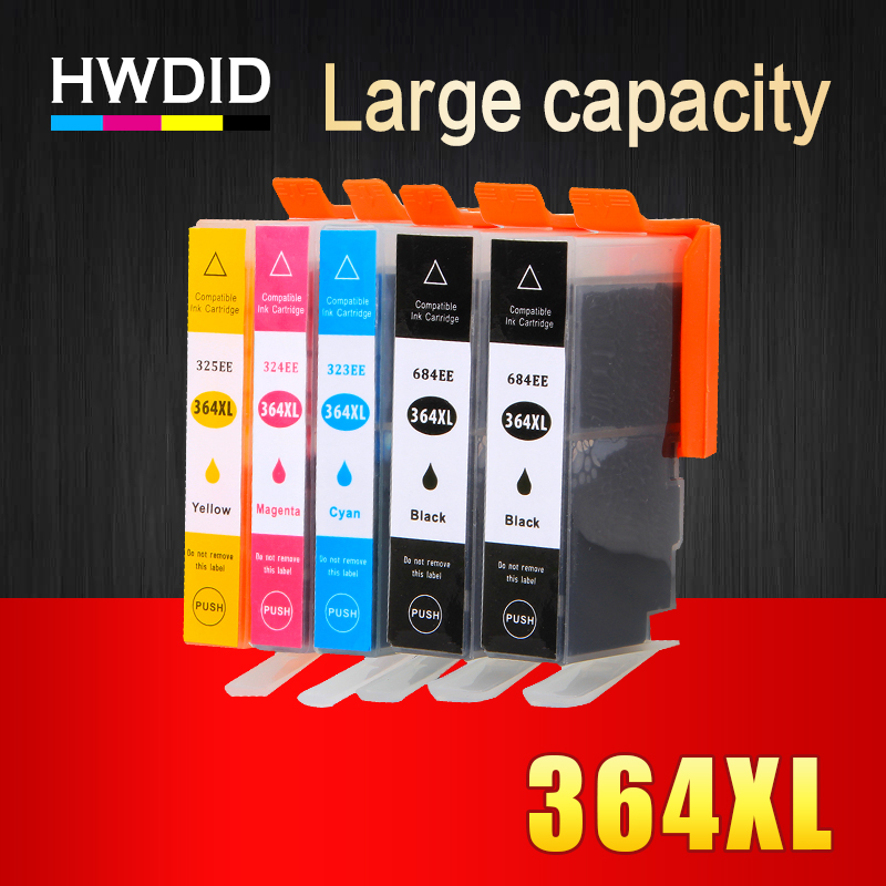 HWDID 5Pack 364XL Compatible Ink Cartridges Replacement for HP 364 xl for HP Deskjet 3070A 5510 6510 B209a C510a C309a Printer for hp70 130ml compatible for hp ink cartridges c9458a inkjet deskjet ink with iso stmc sgs ce certifications free shipping