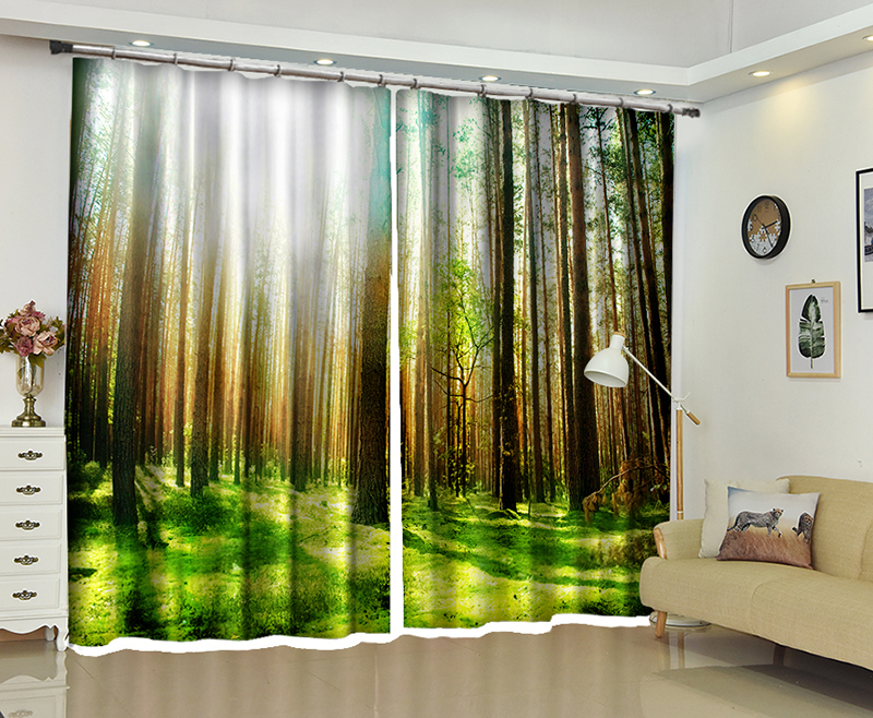 New Natural Scenery 3D Blackout Curtains Healthy non pollution Digital Print Curtains Customizable Tablecloth Shower Curtain