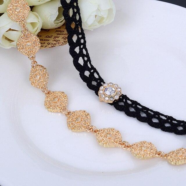 Double Layer Gold Plated Flower Design Velvet Choker